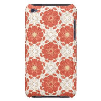 Red And Gold Floral Lace Pattern Barely There iPod Covers
