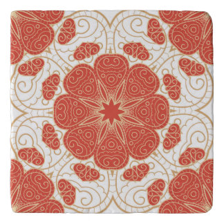 Red And Gold Floral Lace Pattern Trivet