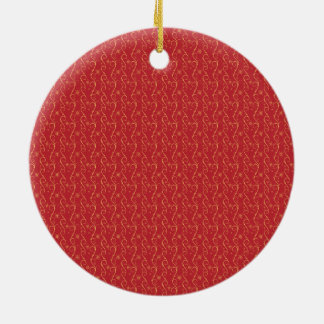 Red and Gold Floral Pattern Texture Design Round Ceramic Ornament