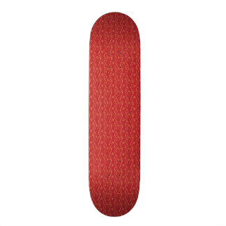 Red and Gold Floral Pattern Texture Design Skateboard Deck
