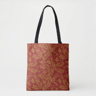 Red and Gold Floral Pattern Tote Bag