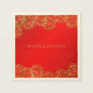 Red and Gold Flower Indian Wedding Napkin Paper Napkins