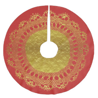Red and Gold Foil Lace Doily Tree Skirt