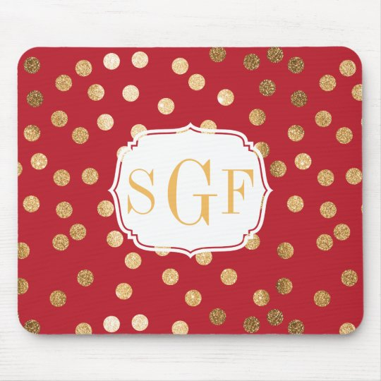 Red and Gold Glitter City Dots Mouse Pad