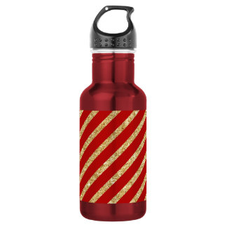 Red and Gold Glitter Diagonal Stripes Pattern 532 Ml Water Bottle