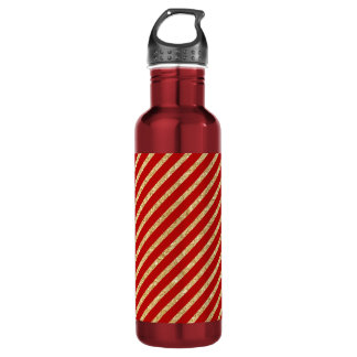 Red and Gold Glitter Diagonal Stripes Pattern 710 Ml Water Bottle