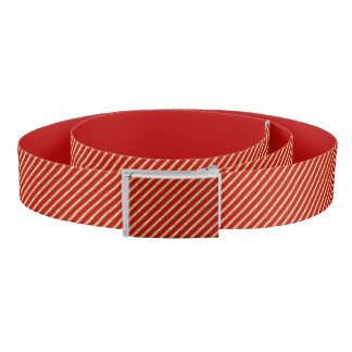 Red and Gold Glitter Diagonal Stripes Pattern Belt