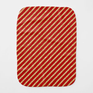 Red and Gold Glitter Diagonal Stripes Pattern Burp Cloth
