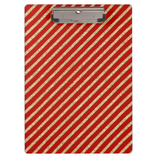 Red and Gold Glitter Diagonal Stripes Pattern Clipboard
