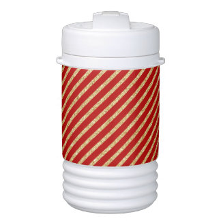 Red and Gold Glitter Diagonal Stripes Pattern Cooler