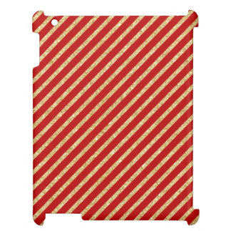 Red and Gold Glitter Diagonal Stripes Pattern Cover For The iPad