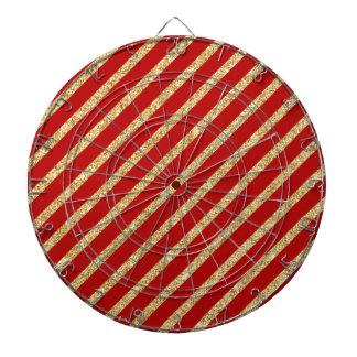 Red and Gold Glitter Diagonal Stripes Pattern Dartboard