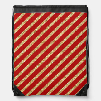 Red and Gold Glitter Diagonal Stripes Pattern Drawstring Bag