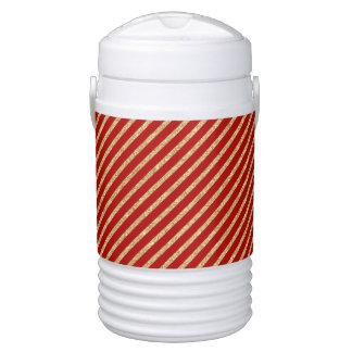 Red and Gold Glitter Diagonal Stripes Pattern Drinks Cooler
