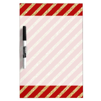 Red and Gold Glitter Diagonal Stripes Pattern Dry Erase Board