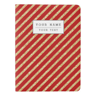 Red and Gold Glitter Diagonal Stripes Pattern Extra Large Moleskine Notebook