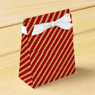 Red and Gold Glitter Diagonal Stripes Pattern Favor Box