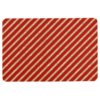 Red and Gold Glitter Diagonal Stripes Pattern Floor Mat