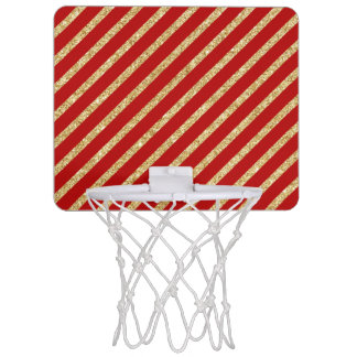 Red and Gold Glitter Diagonal Stripes Pattern Mini Basketball Hoop