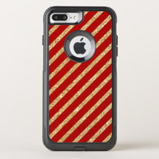 Red and Gold Glitter Diagonal Stripes Pattern OtterBox Commuter iPhone 8 Plus/7 Plus Case