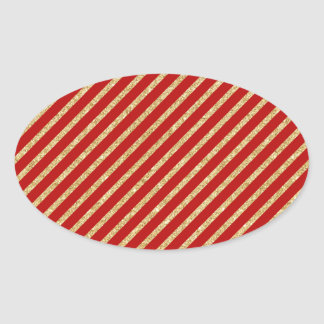 Red and Gold Glitter Diagonal Stripes Pattern Oval Sticker