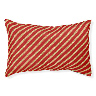 Red and Gold Glitter Diagonal Stripes Pattern Pet Bed