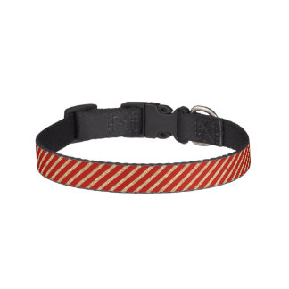 Red and Gold Glitter Diagonal Stripes Pattern Pet Collar
