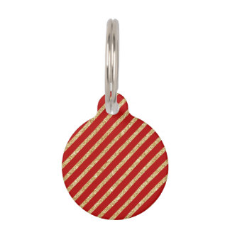 Red and Gold Glitter Diagonal Stripes Pattern Pet Name Tag