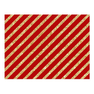 Red and Gold Glitter Diagonal Stripes Pattern Postcard