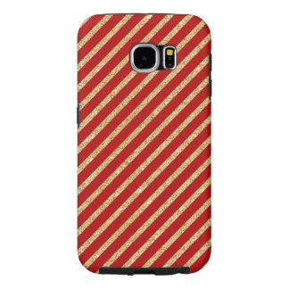 Red and Gold Glitter Diagonal Stripes Pattern Samsung Galaxy S6 Cases