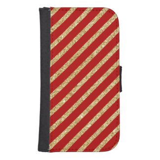 Red and Gold Glitter Diagonal Stripes Pattern Samsung S4 Wallet Case