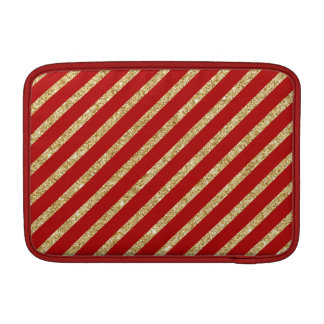 Red and Gold Glitter Diagonal Stripes Pattern Sleeves For MacBook Air