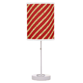 Red and Gold Glitter Diagonal Stripes Pattern Table Lamp