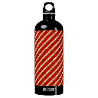 Red and Gold Glitter Diagonal Stripes Pattern Water Bottle