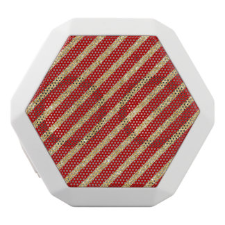 Red and Gold Glitter Diagonal Stripes Pattern White Bluetooth Speaker
