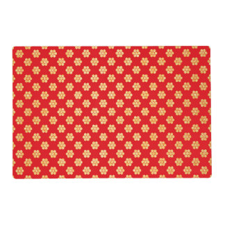 Red and Gold Glitter Flower Pattern Decorative Laminated Place Mat