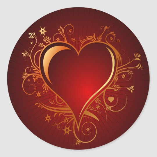 RED AND GOLD HEART CLASSIC ROUND STICKER