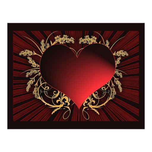 Red and gold heart design custom flyer