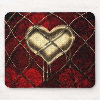 Red and Gold Hearts with Gold Link Design Mousepad