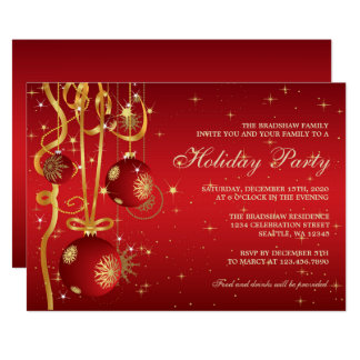 Red and Gold Holiday Party Invitation