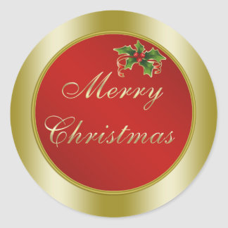 Red and Gold, Holly  Merry Christmas Classic Round Sticker