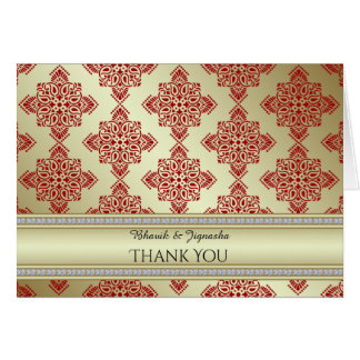 Red and Gold Indian Damask Thank You card