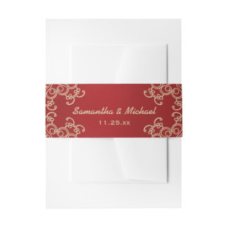 Red and Gold Indian Inspired Invitation Belly Band