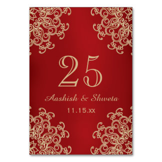 Red and Gold Indian Style Wedding Number Card