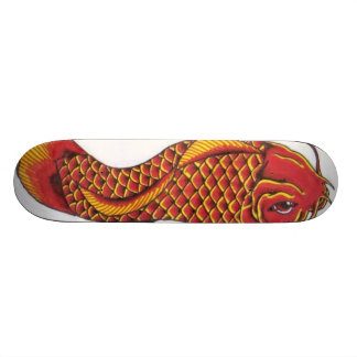 Red and Gold Koi Skate Board Deck
