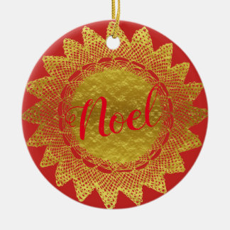 Red and Gold Lace Doily Noel Christmas Ornament