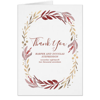 Red and Gold Leaves Wreath Wedding Thank You Card