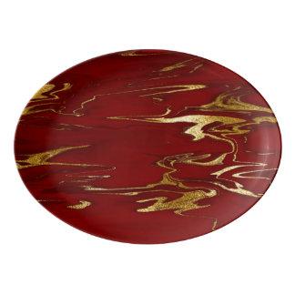 Red and Gold Marble design Porcelain Serving Platter