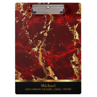 Red and Gold Marble Pattern Design Clipboard