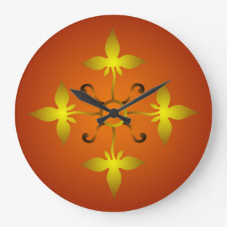 Red and Gold Medieval Pattern Wall Clock
